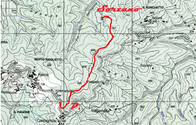 Mappa Rasco-Castagnola. Tracciato per Sorzano