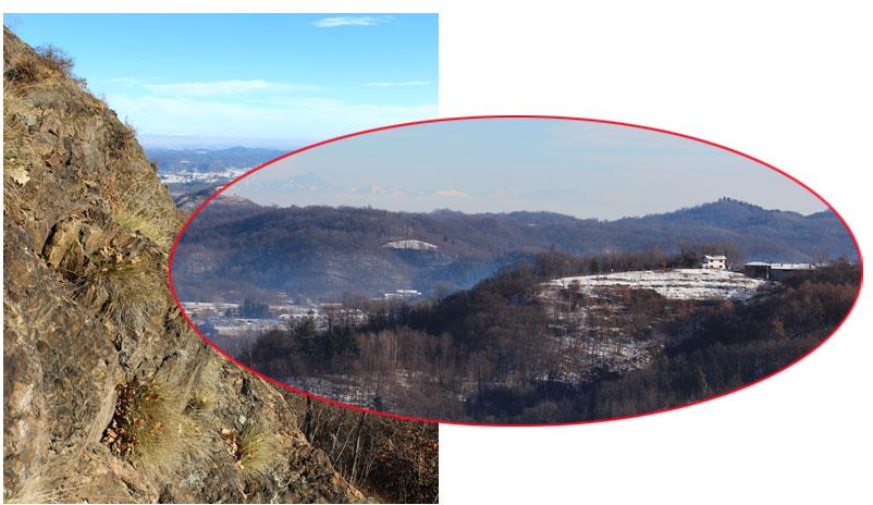 Fotocomposizione con parte di vulcanite e, sullo sfondo, la località Sella di Piane Sesia.