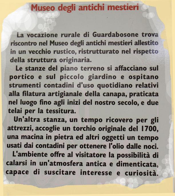 Cartello sul museo degli antichi mestieri