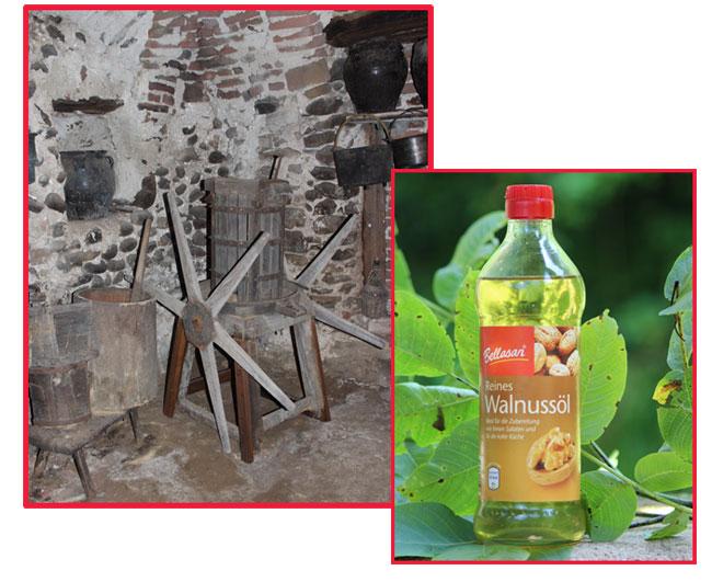 Antico torchietto per la produzione dell'olio di noce. Bottiglia di olio di noce: prodotto tedesco.
