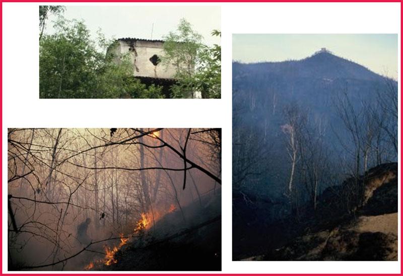 Problemi della collina di San Bernardo negli anni Settanta: l'oratorio che mostra le crepe do, incendi boschivi.