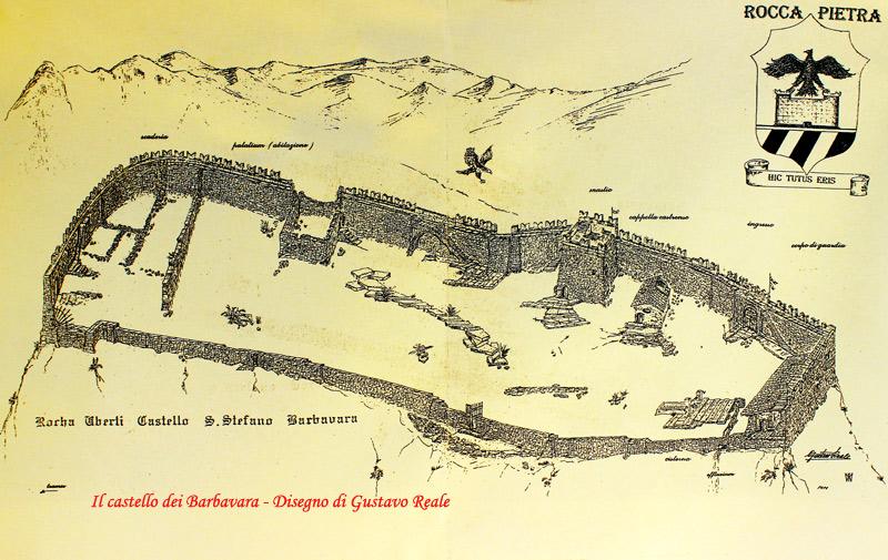 Disegno di Gustavo Reale:Castello di Santo Stefano, disegno di Gustavo Reale.