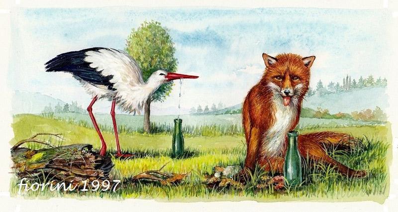 avole di Fedro: la volpe e la cicogna (Illustrazione di Costantina Fiorini Per Casa ed. Giunti)