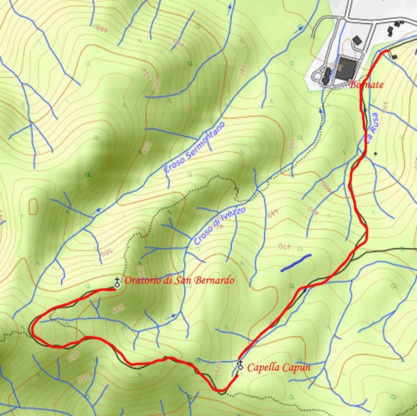 Cartina con tracciato per San Bernardo di Bornate