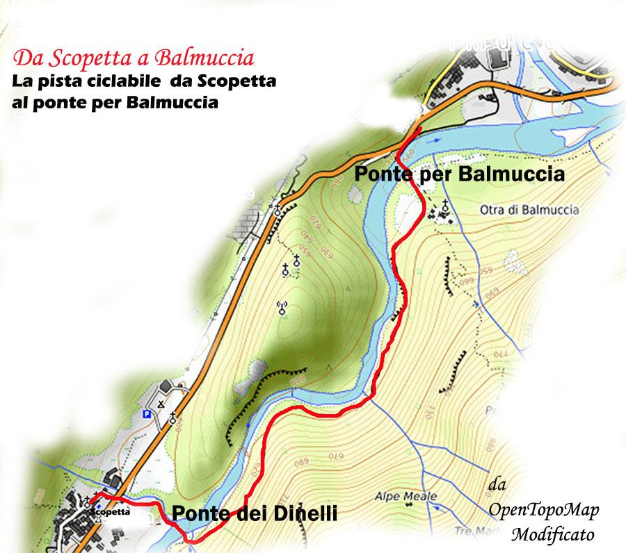 Da Scopetta al ponte per Balmuccia: la pista ciclabile (Da OpenTopoMap, modificato)